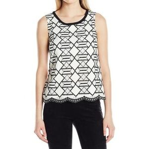 Nine West Geometric Lace Sleeveless Top